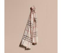 Schal aus Seide und Wolle mit Check-Muster in Metallic-Optik