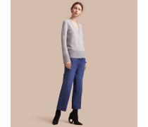 Pullover aus Merinowolle und Baumwollseide mit V-Ausschnitt