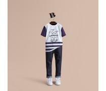 T-Shirt aus Baumwolle mit Streifen und bärtigem Gentleman-Motiv