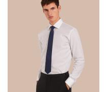 Modern geschnittenes Hemd aus Baumwollpopelin mit Hahnentrittmuster und Umschlagmanschetten