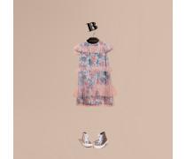 Kurzärmeliges Kleid Aus Tüll Und Seide Mit Stickerei