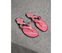 Sandalen aus House Check-Gewebe und Lackleder