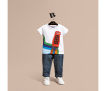 Baumwoll-T-Shirt mit fröhlichem Aufdruck