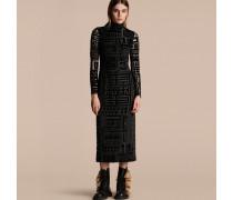 Bodycon-Kleid aus Devoré-Samt mit Stretchanteil