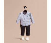 Hemd aus Stretchbaumwolle mit Button-down-Kragen und Streifenmuster