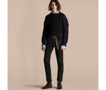 Pullover aus einer Baumwollmischung mit Strickdetails