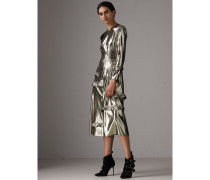 Langärmeliges Lamé-Kleid mit Rüschendetail