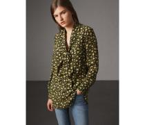 Lange Bluse aus floraler Seide mit Schleifendetail