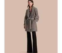 Cardigan-Mantel im Wickeldesign aus Wolle und Kaschmir