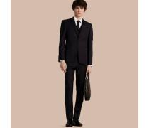 Körperbetonter, dreiteiliger Part-Canvas-Anzug aus Wolle