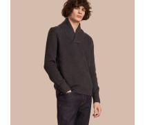 Pullover aus Wolle und Seide in Rippstrick mit Schalkragen