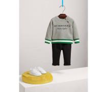 Baumwoll-Sweatshirt mit Kontraststreifen und Stickerei