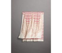 Schal aus Kaschmir und Seide mit Breton-Streifen und Spitzendetails