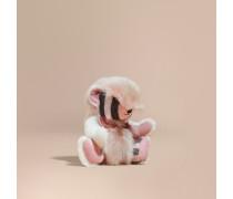 Burberry-Teddybär aus Lammfell und Kaschmir mit Karomuster und Fellbesatz