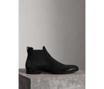Chelsea-Stiefel aus Veloursleder mit Brogue-Details