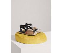 Espadrille-Sandalen aus House Check-Gewebe mit Fesselriemen aus Leder