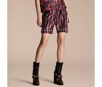 Shorts im Pyjamastil aus Baumwollseide mit Panamastreifen