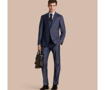 Modern geschnittener Travel Tailoring-Anzug aus Sharkskin-Wolle