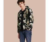 Wasserabweisende Jacke mit Kapuze und abstraktem Muster