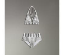Bikini im Neckholder-Design mit Punkt- und Streifenmuster