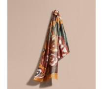 Kaschmirschal mit Metallic-Beschichtung und floralem Muster