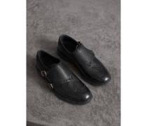 Monkstrap-Schuhe aus strukturiertem Leder mit Brogue-Detail