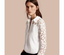 Bluse aus Baumwolle mit Detail aus Makramee-Spitze