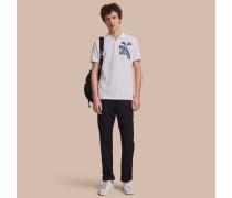 Poloshirt aus Baumwollpiqué mit Wettermotivapplikation