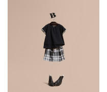 T-shirt Aus Baumwolle Mit Check-muster Und Faltendetail