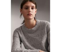 Pullover aus Wolle und Kaschmir mit Pointelle-Panels und Spitzenbesatz