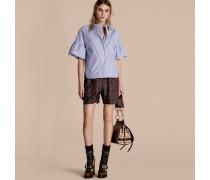Bluse aus Baumwolle mit Streifenmuster und Rüschenärmeln