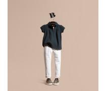Poloshirt Aus Stretchbaumwolle Mit Rüschendetail