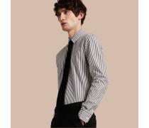 Körperbetontes, gestreiftes Hemd aus Baumwollpopelin