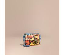 Clutch aus Haymarket Check-Gewebe mit Pfingstrosenmotiv und Lederbesatz