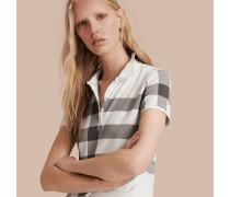 Poloshirt aus Stretchbaumwollpiqué in Check