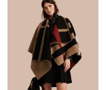 Deckenponcho aus Wolle und Kaschmir mit Check-Muster