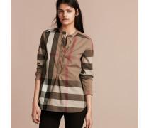 Tunikabluse aus Baumwolle mit Check-Muster