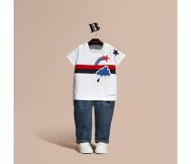 Baumwoll-t-shirt Mit Wettermotiv, Stickerei Und Applikationen