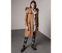 Mantel aus Wolle mit Kapuze und abnehmbarem Pelzbesatz