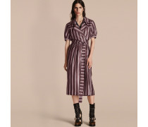 Wickelkleid aus Baumwollseide mit Panamastreifen