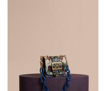 The Mini Square Buckle Bag aus Natternleder mit Ziernieten und einem floralen Druckmotiv