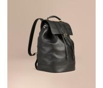 Rucksack aus Leder mit Check-Prägung