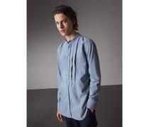 Baumwollhemd mit Stehkragen und Faltendetail