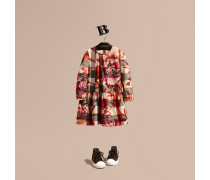 Baumwollkleid mit Karomuster und Pfingstrosenmotiv