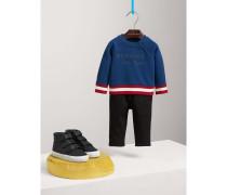 Sweatshirt aus Baumwolle mit Kontraststreifen und Stickerei