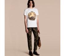 Baumwoll-T-Shirt mit Medaillon-Druck