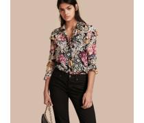 Bluse aus Seidengeorgette mit floralem Muster und Rüschendetail