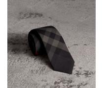 Modern geschnittene Krawatte aus Baumwolle und Kaschmir mit Karomuster