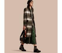 Gebürsteter Mantel aus Wolle und Mohair mit Schottenmuster