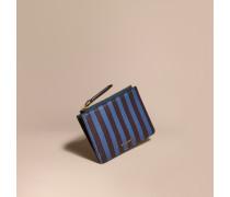 Brieftasche aus London-Leder mit Pyjamastreifenmuster und Reißverschluss